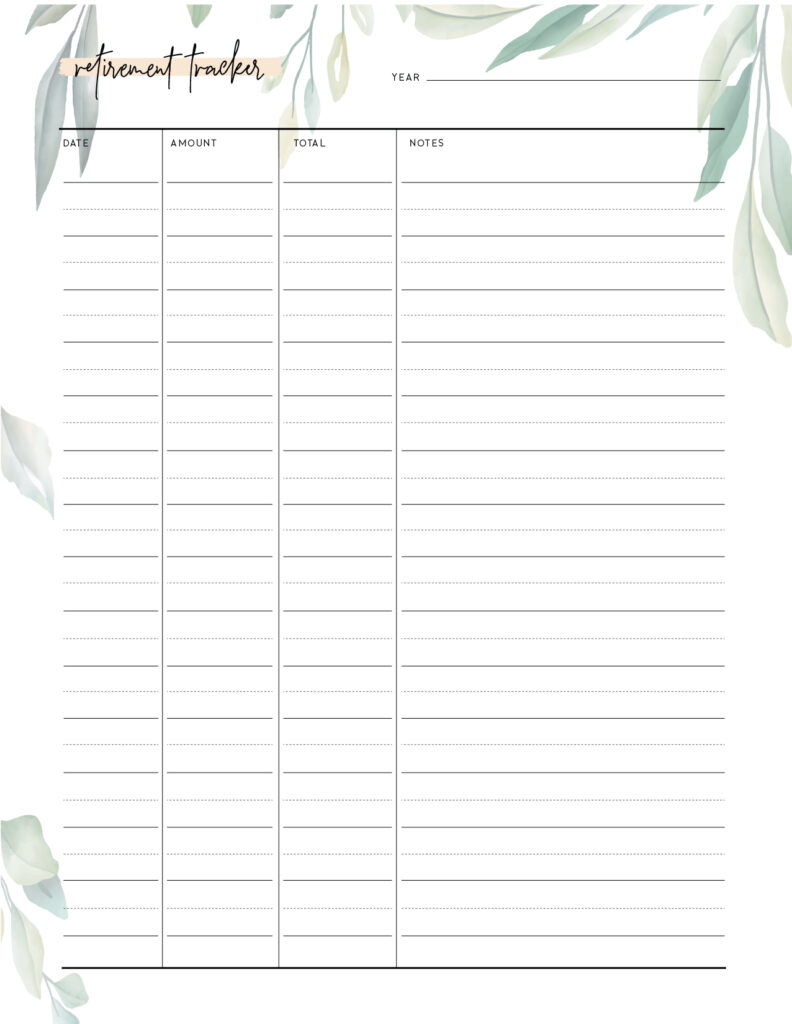 Download free printable retirement tracker template