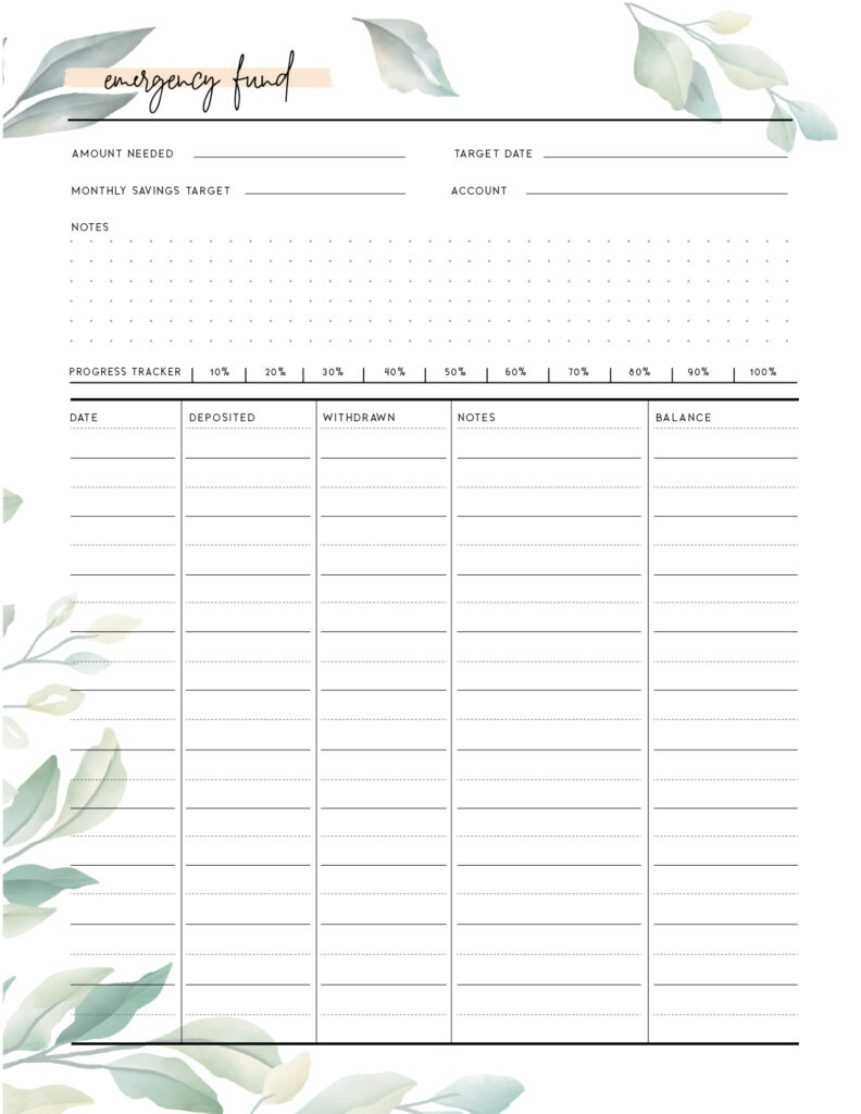 Download printable emergency fund tracker template