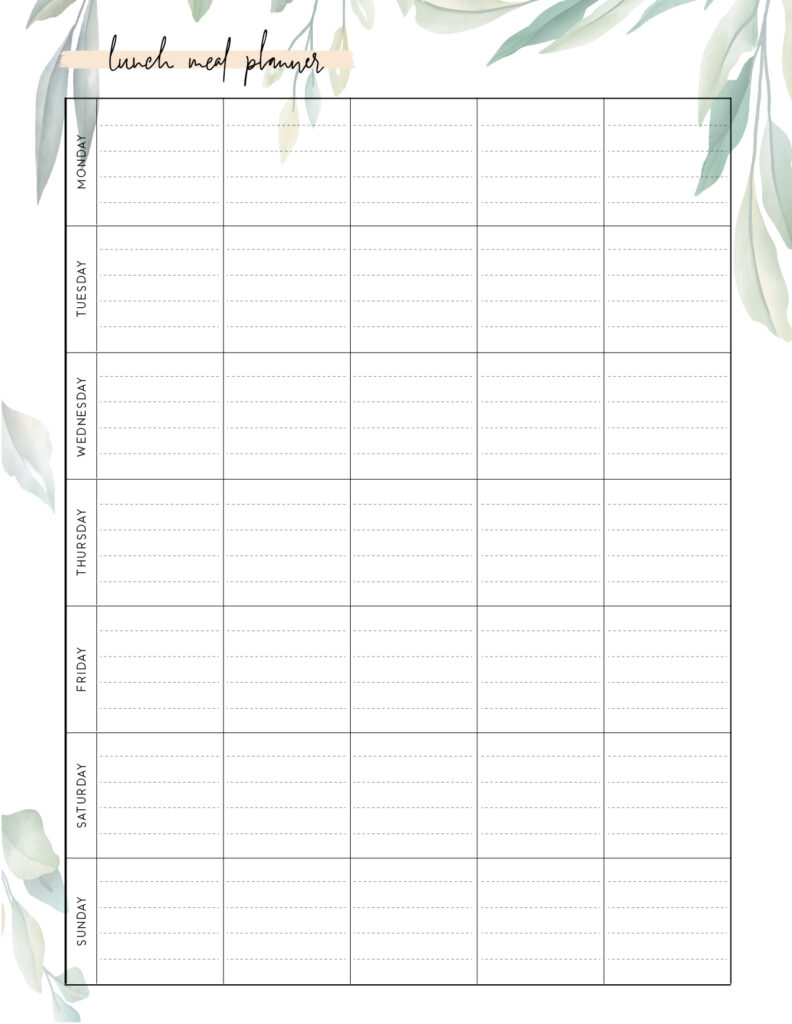 Download printable lunch meal planner template