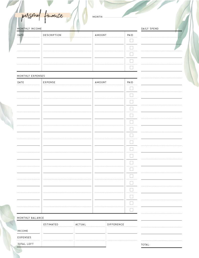 Download printable personal balance sheet template