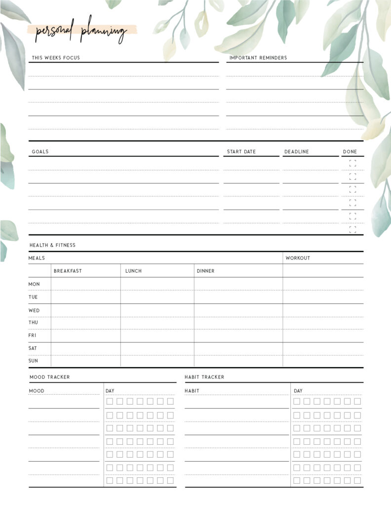 printable personal planning template