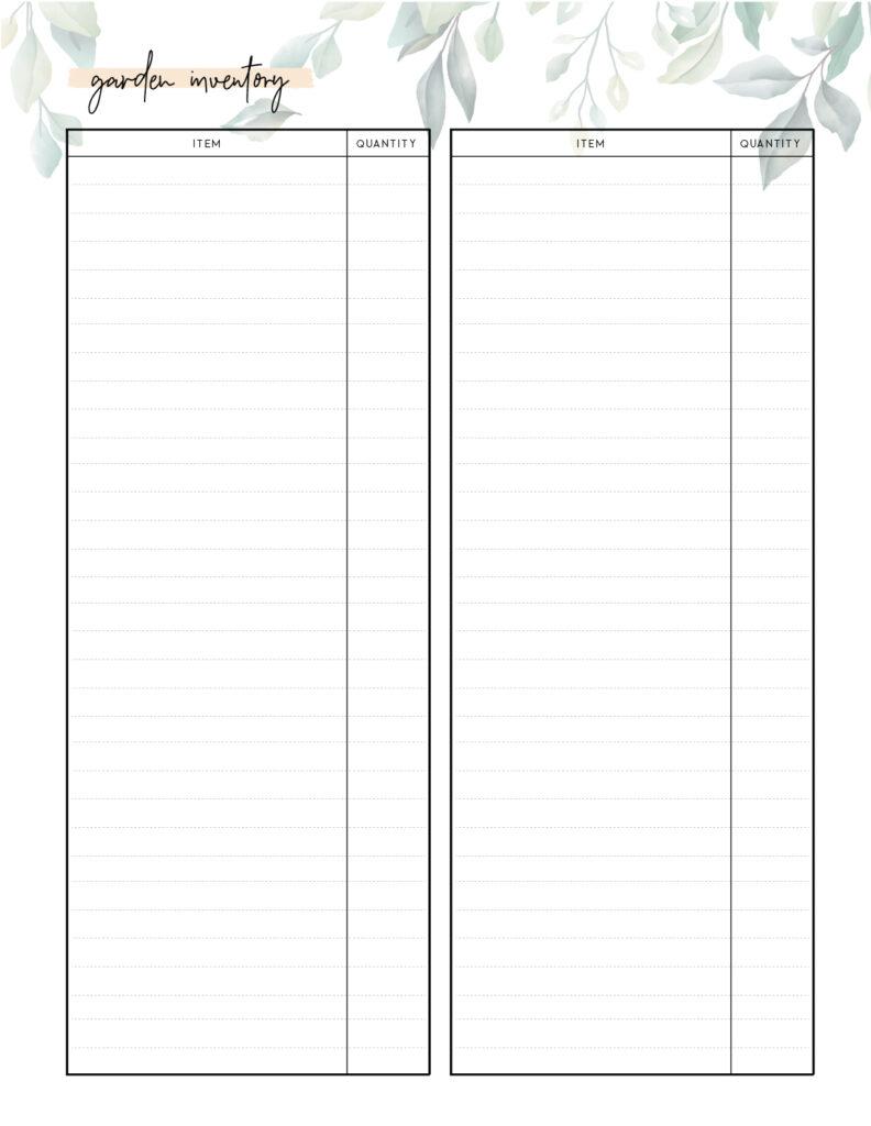 Free printable garden inventory template