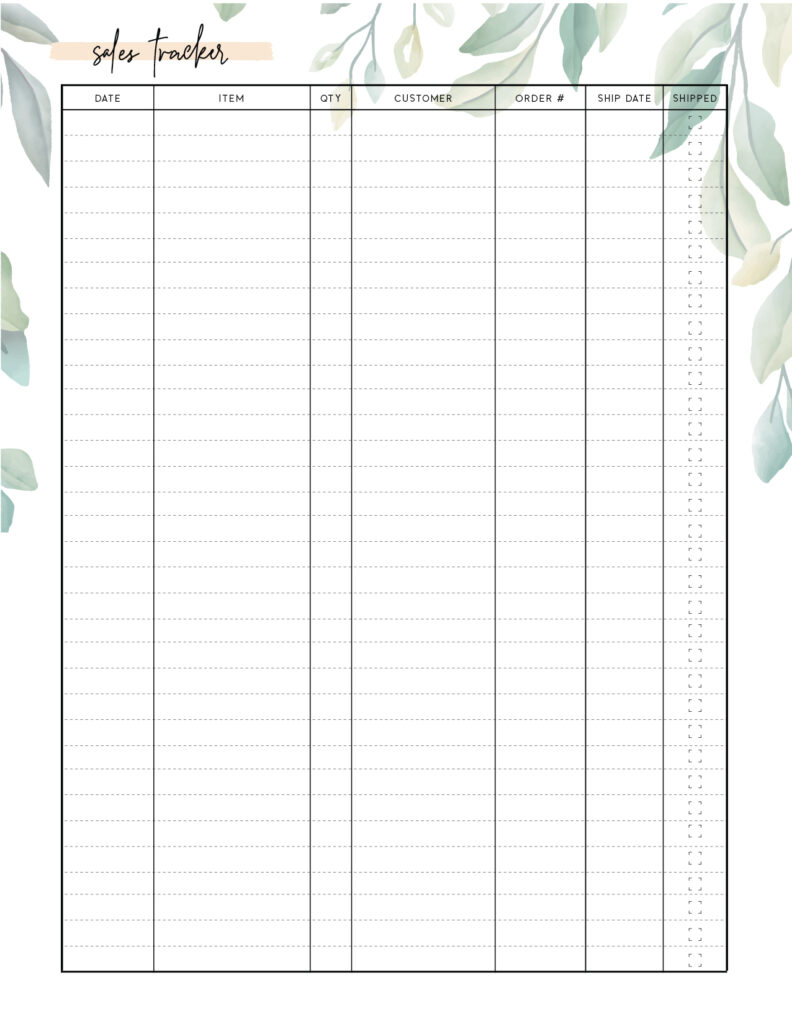 Download Printable Sales Tracker Template