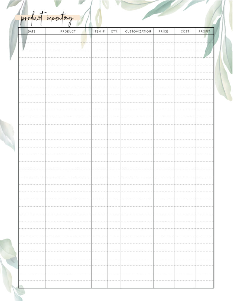 Download stock taking sheet template
