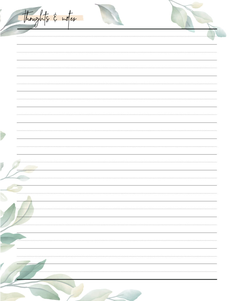 Download printable thought record template