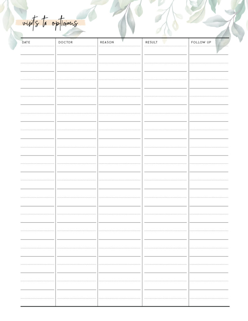 printable visits to opticians tracker template