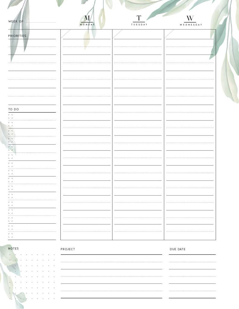 printable weekly work plan template