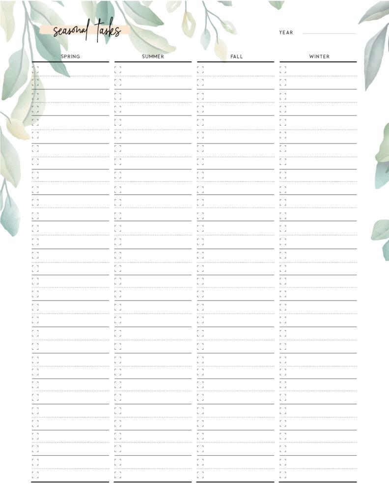 download seasonal chores list template
