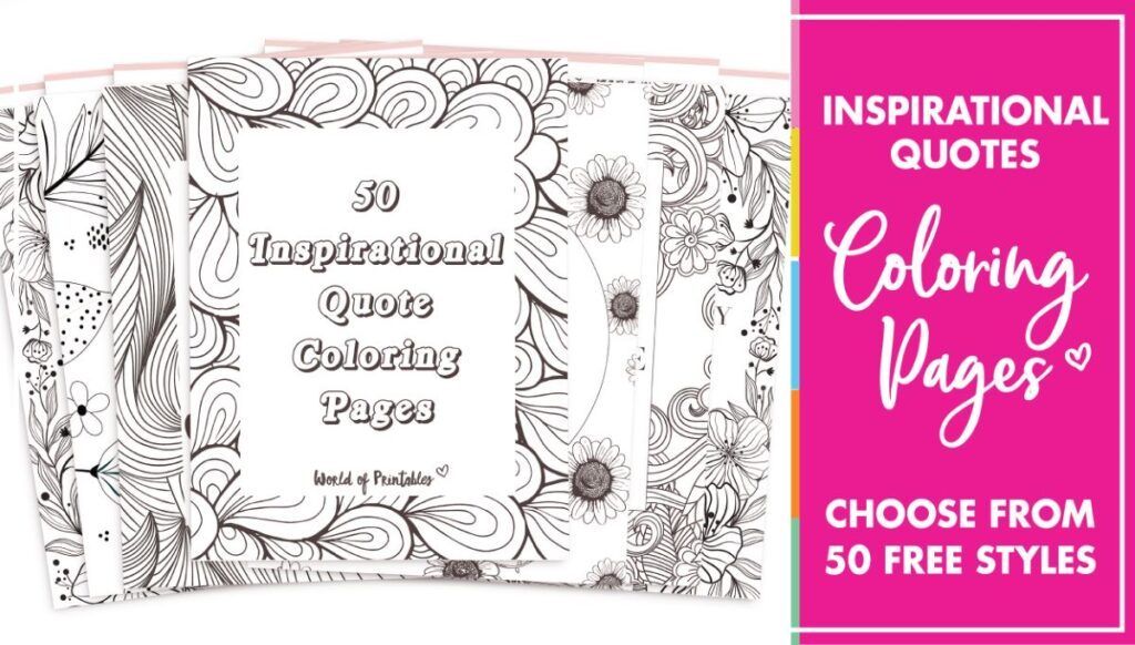 50 best printable inspirational quote coloring pages