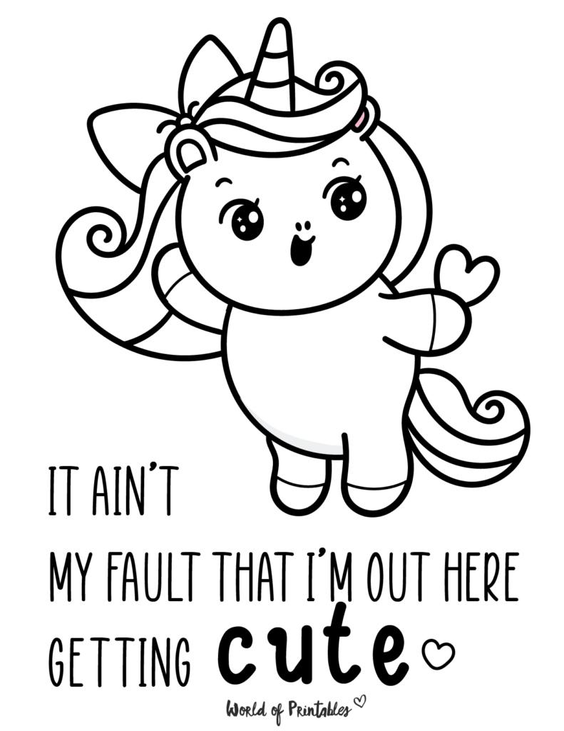 Cute Unicorn Coloring Page 18