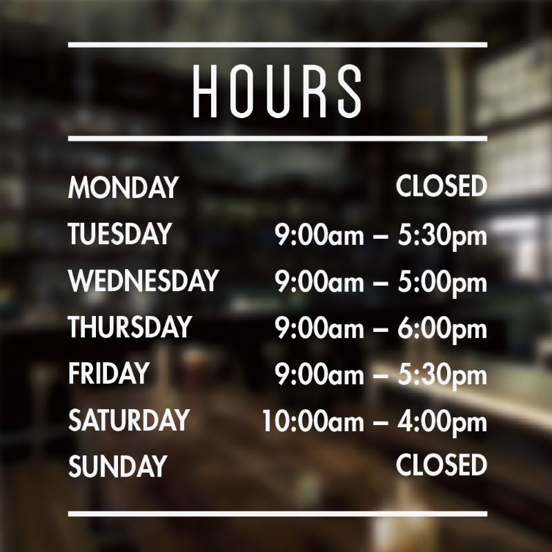 Hours of operation sign template 1
