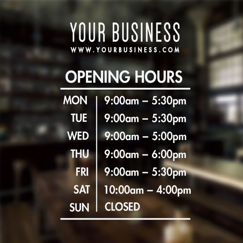 Hours of operation sign template 13