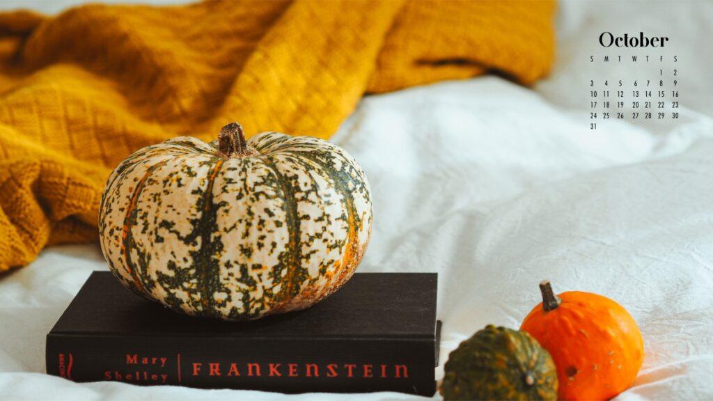 white pumpkin calendar background wallpaper October