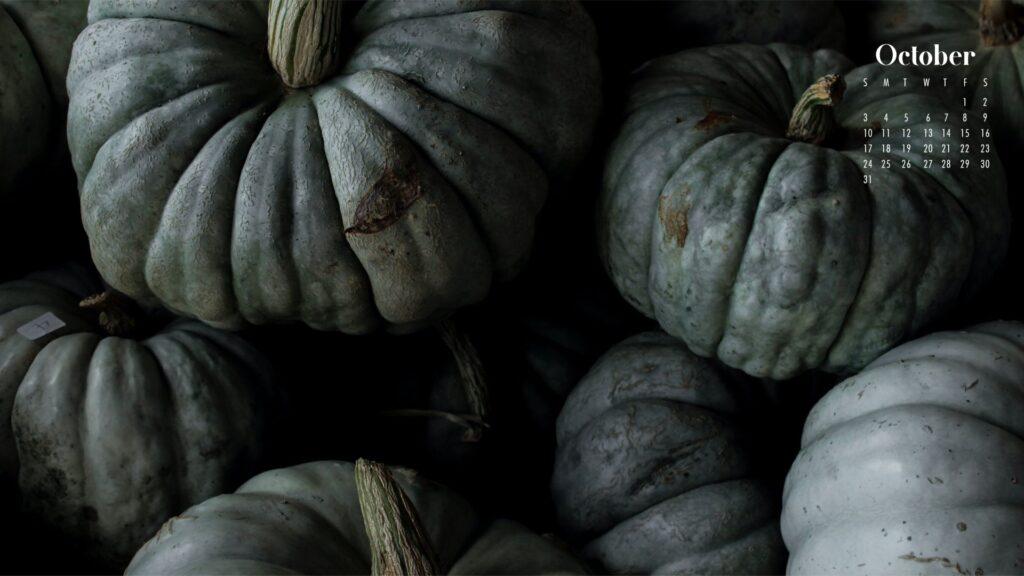 pumpkins at night October 2021 calendar wallpaper background