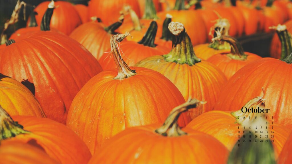 orange pumpkin October calendar wallpaper