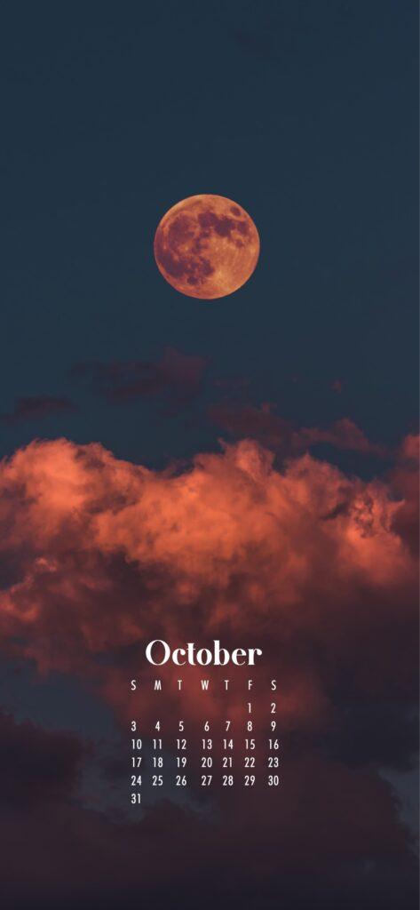 Spooky moon October 2021 wallpaper calendars