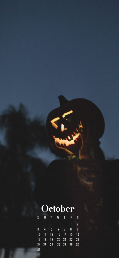 creepy scarecrow October 2021 phone wallpaper background with calendar