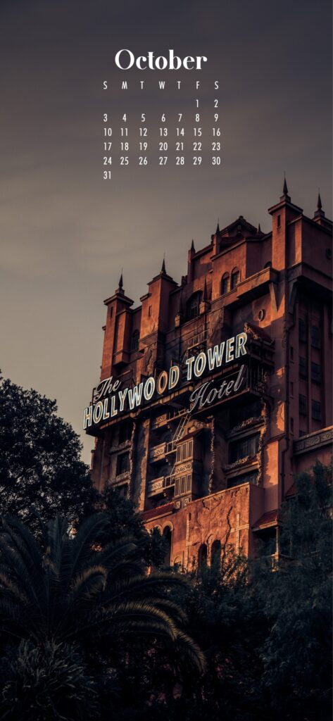Hollywood tower phone wallpaper background October 2021