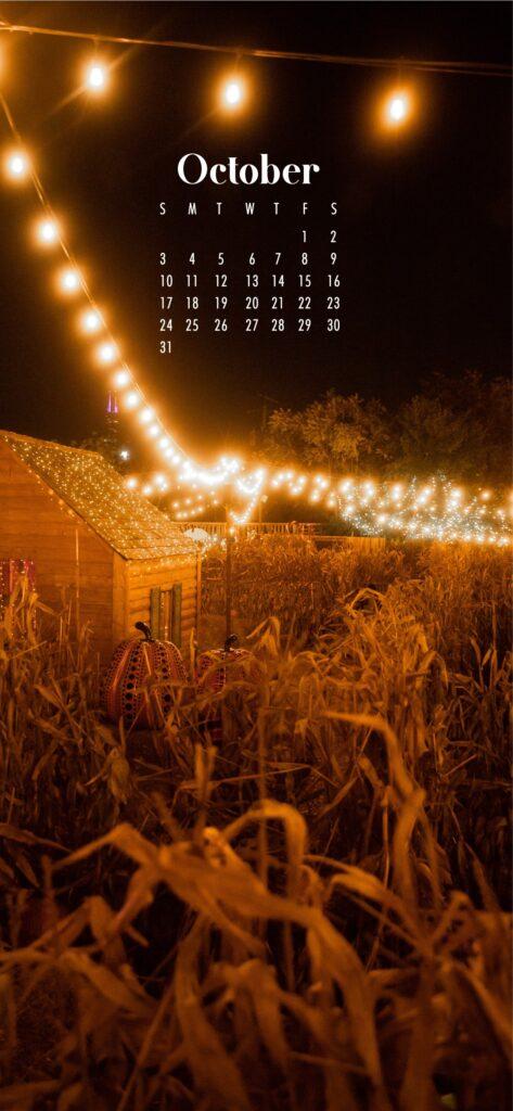 Fall aesthetic wallpaper background October 2021 calendar