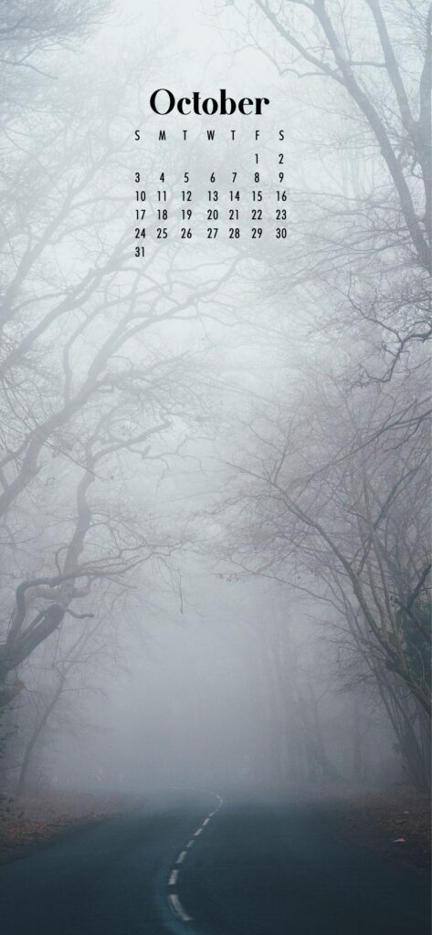Misty forest October 2021 wallpaper calendars