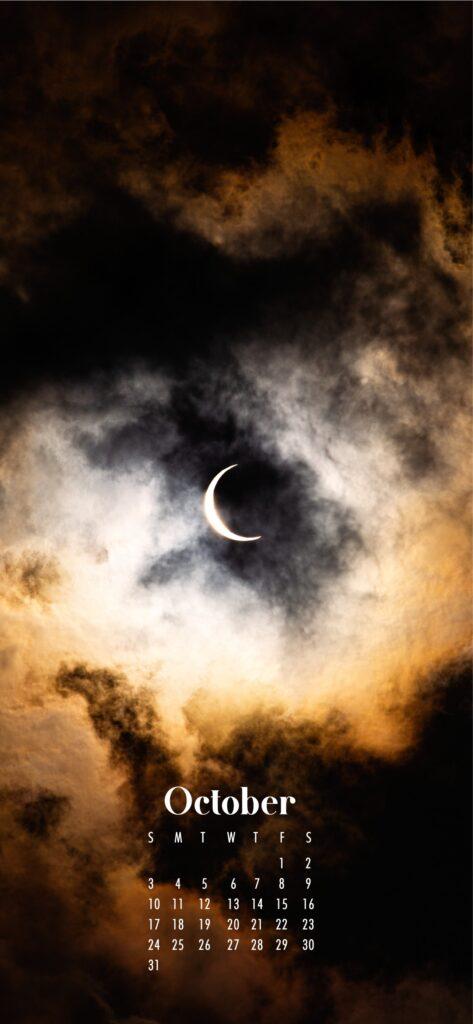 Crescent moon at night October wallpaper calendar for phone
