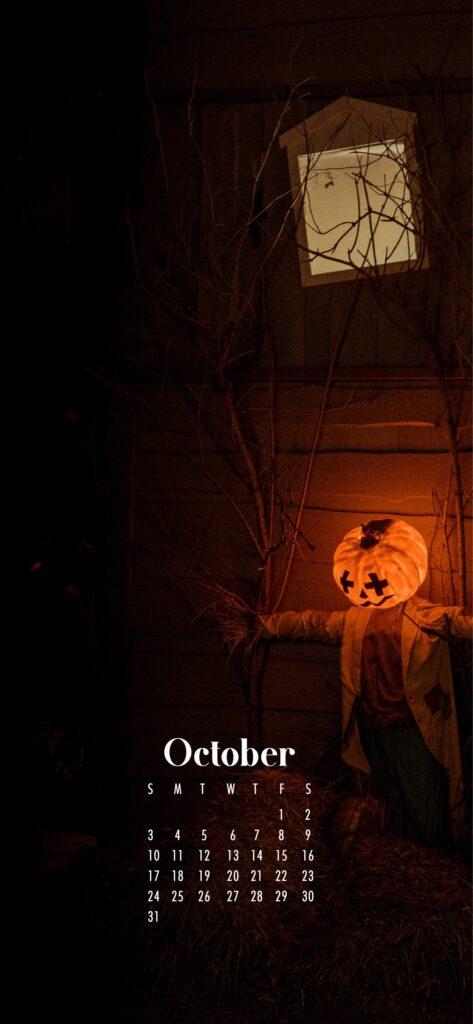 Jack o lantern October 2021 wallpaper calendars