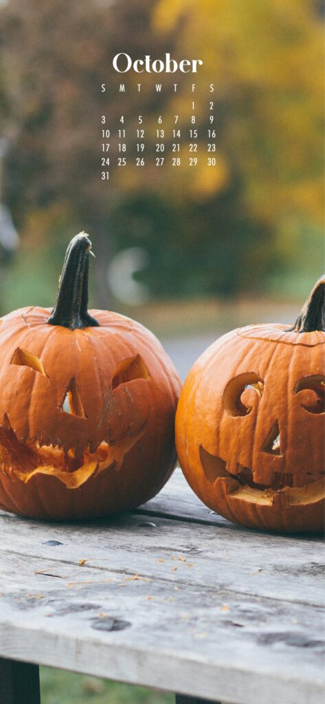 Halloween carved pumpkin faces October 2021 wallpaper calendars