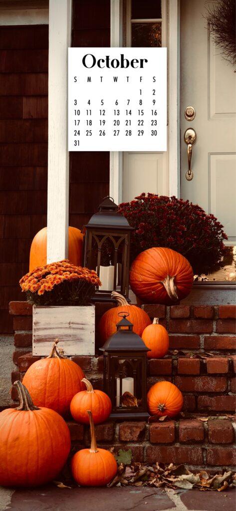 Fall Decor October 2021 phone wallpaper calendar background