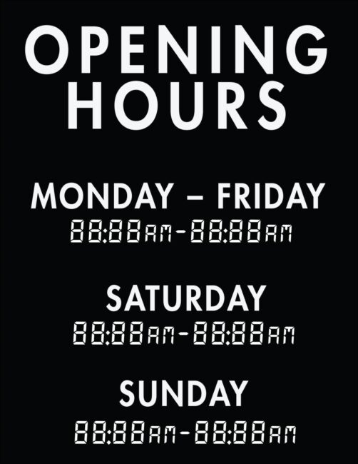 Printable business hours of operation sign 10