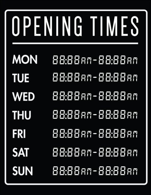 Printable business hours of operation sign 18