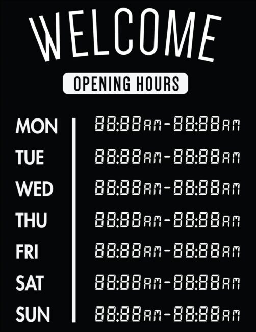 Printable business hours of operation sign 28