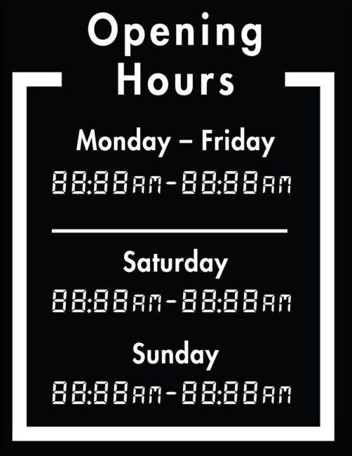 Printable business hours of operation sign 7