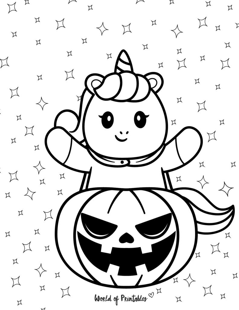 Unicorn Coloring Page Halloween 14