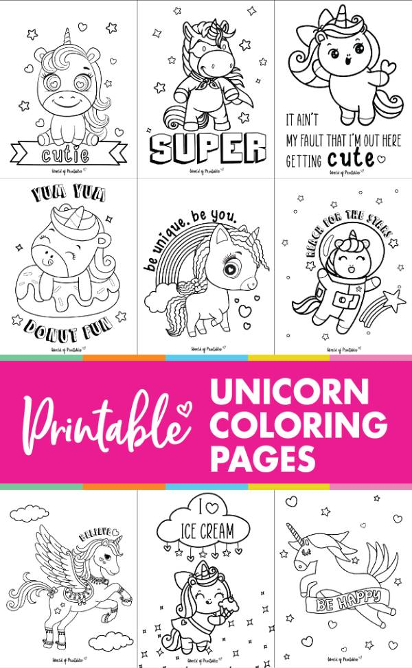 Printable Unicorn Coloring Page Sheets