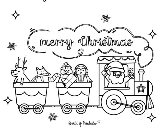 Christmas santa train coloring page