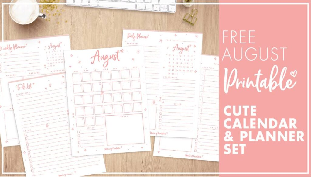 cute august calendar and planners
