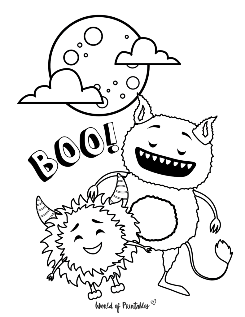 Monster Halloween Coloring Page