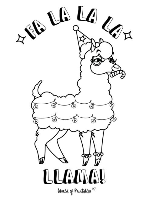 llama christmas coloring page