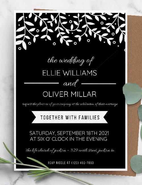 printable black botanical boho wedding invitation template