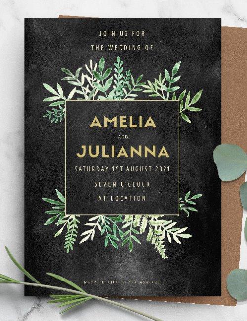 printable black chalkboard floral wedding invitation template