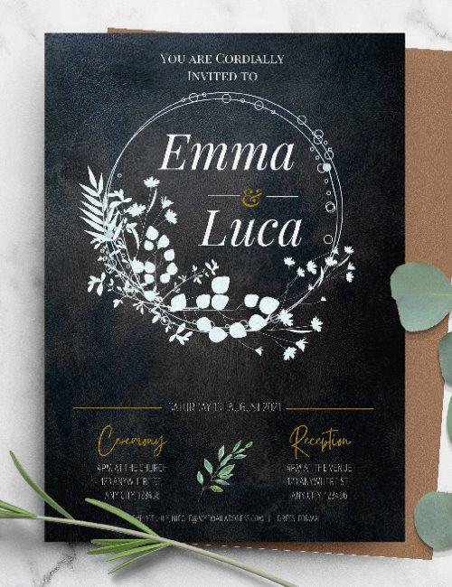 printable black floral wedding invitation template
