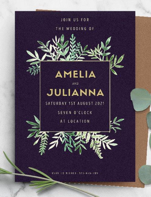 printable black gold framed greenery wedding invitation template