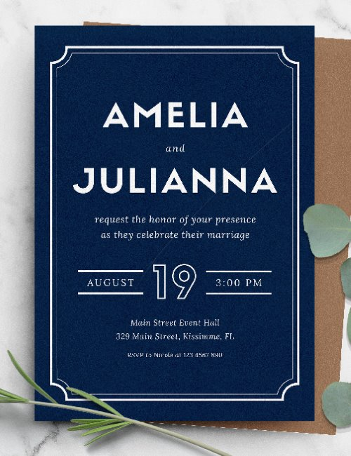 printable blue simple wedding invitation template