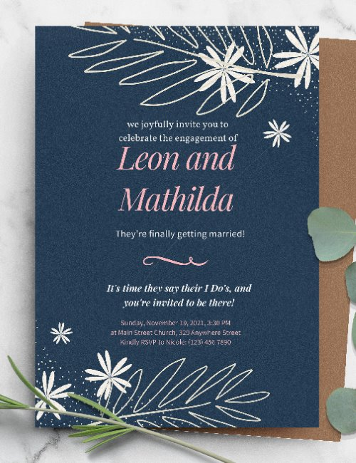 printable botanical blue wedding invitation template