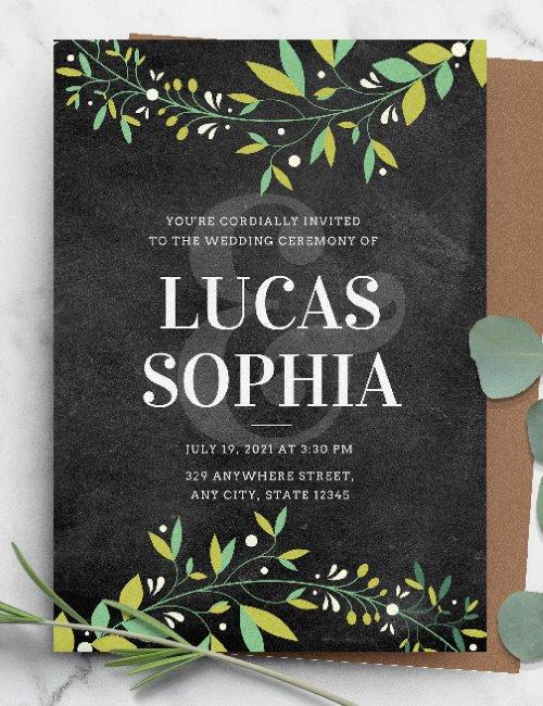 printable botanical chalkboard rustic wedding invitation template