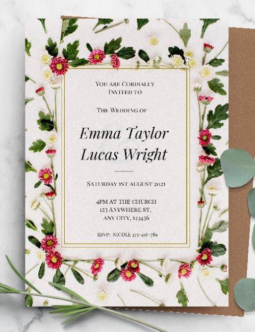 printable botanical floral wedding invitation template