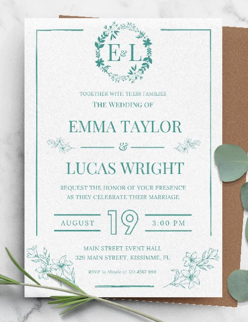 printable botanical framed wedding invitation template