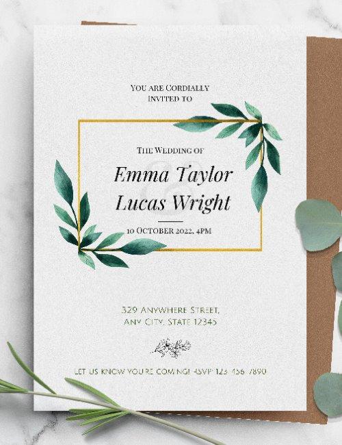 printable botanical gold framed wedding invitation template