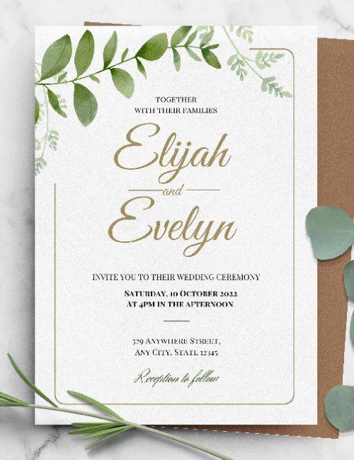 printable botanical gold wedding invitation template