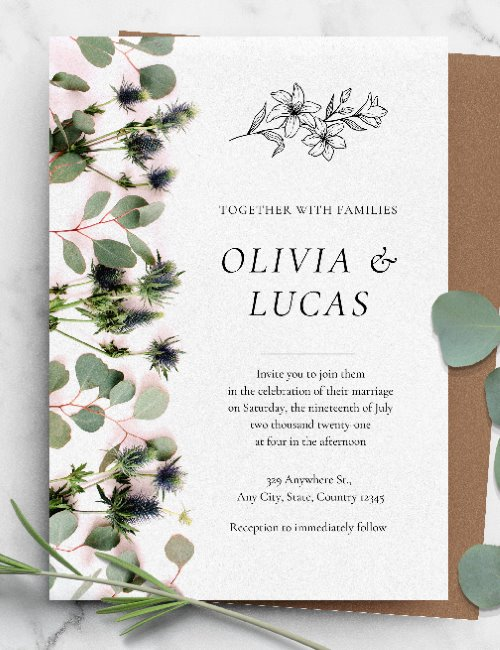printable botanical wedding invitation template